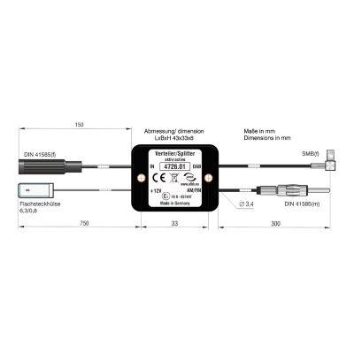 Aktiver Antennsplitter UKW:DAB+ (DIN:DIN)